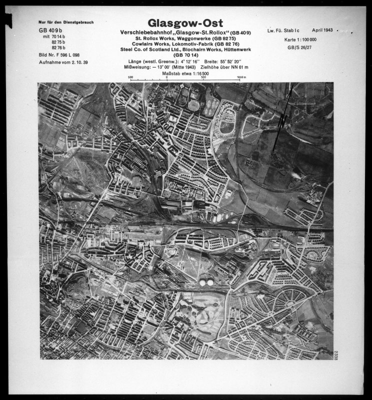 Scanned image of Luftwaffe vertical air photograph of St Rollox district of Glasgow including the locomotive works.,