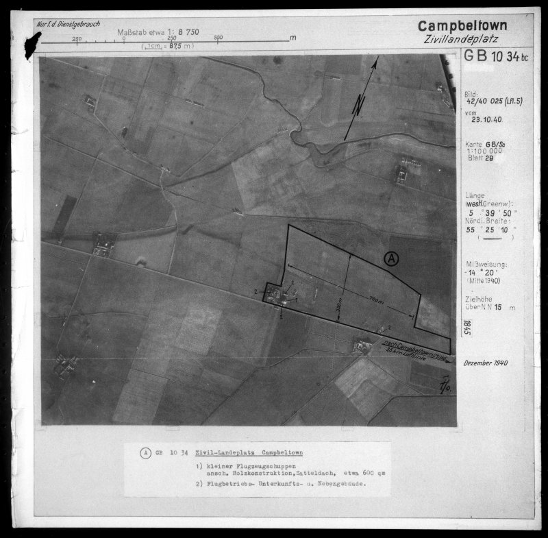 Scanned image of Luftwaffe vertical air photograph of Campbeltown Airfield and surrounding area.