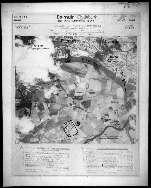 Scanned image of Luftwaffe vertical air photograph of the Inchinnan engine works and the Dalnottar Oil tank farm.