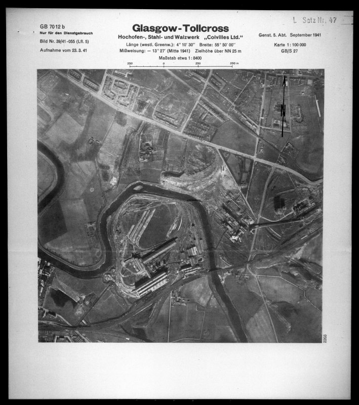 Scanned image of Luftwaffe vertical air photograph of the Clydebridge Steel Works.