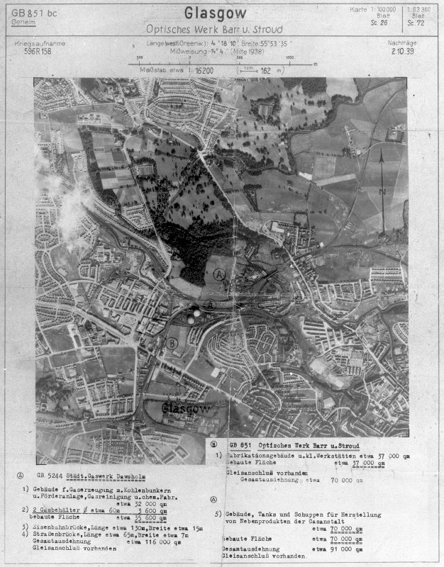 Scanned image of Luftwaffe vertical air photograph of Dawsholm area of Glasgow.