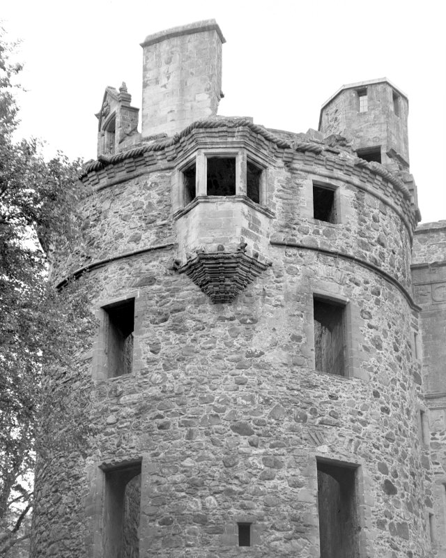 View of top of tower at Huntly Castle from South Digital image of AB 1388