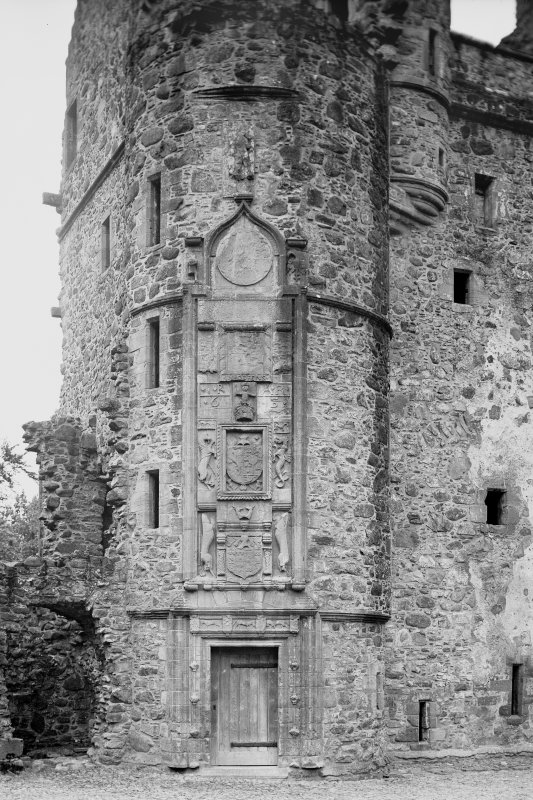View of doorway and carved panel on main stair at Huntly Castle Digital image of AB 1394