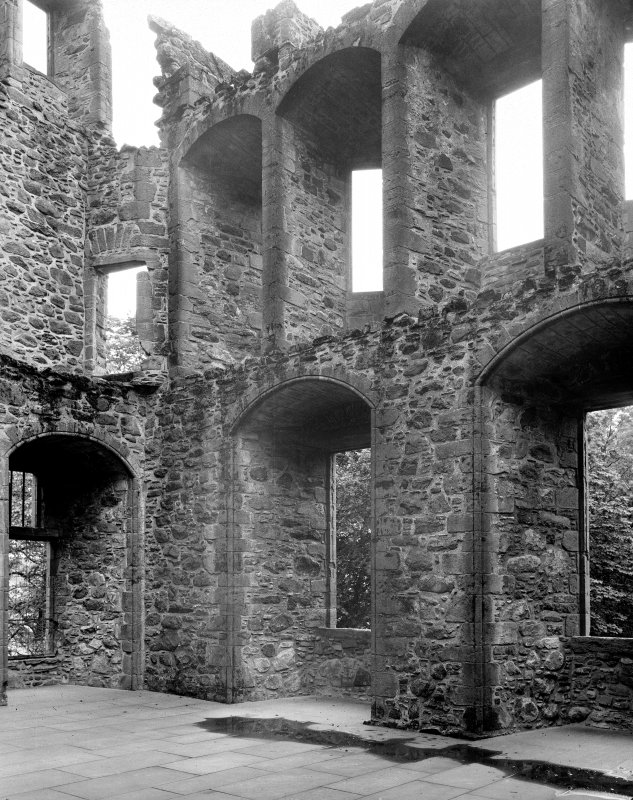 Interior view of windows in hall and state room above at Huntly Castle