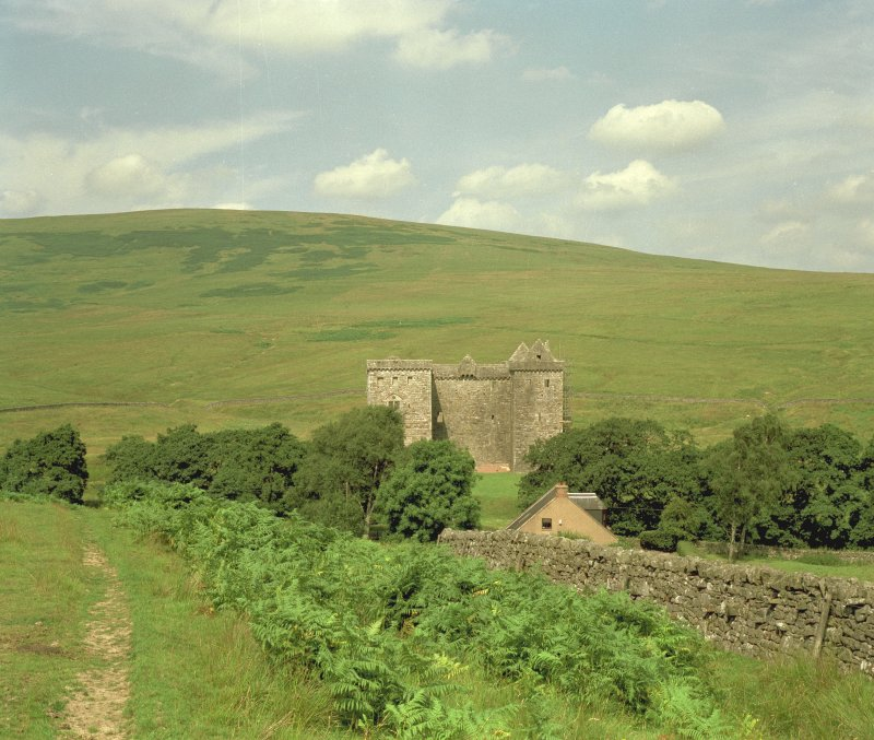 General view of Hermitage Castle from south with Park Wall in background. Digital image of C 67765 CN