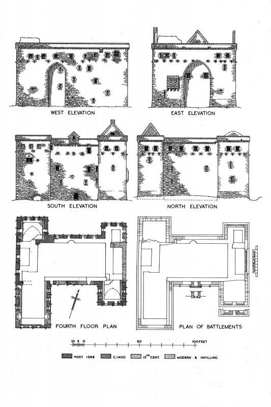 "Hermitage Castle Photographic copy of drawing showing fourth floor plan, plan of battlements, North, South, East and West Elevations Pen, ink, scale 1"":16' Digital image of RXD 233/4 P"