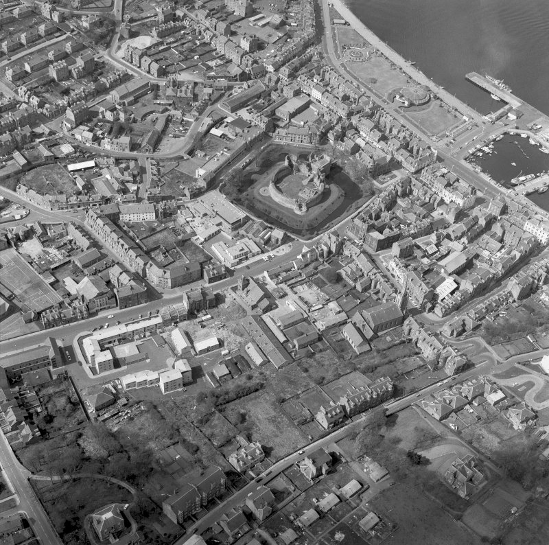 Bute, Rothesay, Rothesay Castle. Oblique aerial view. Digital image of BU 597.