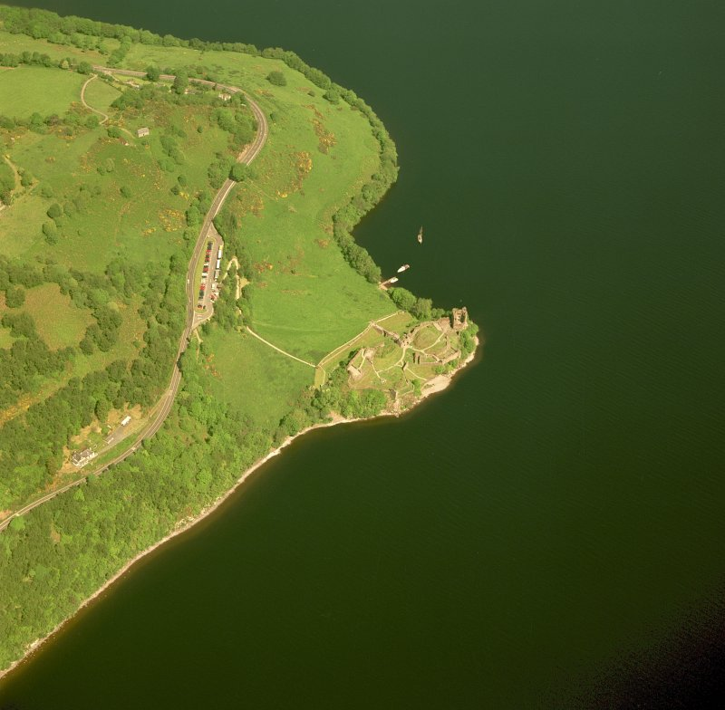 Urquhart Castle, oblique aerial view, taken from the S. Digital image of C 46919 CN.