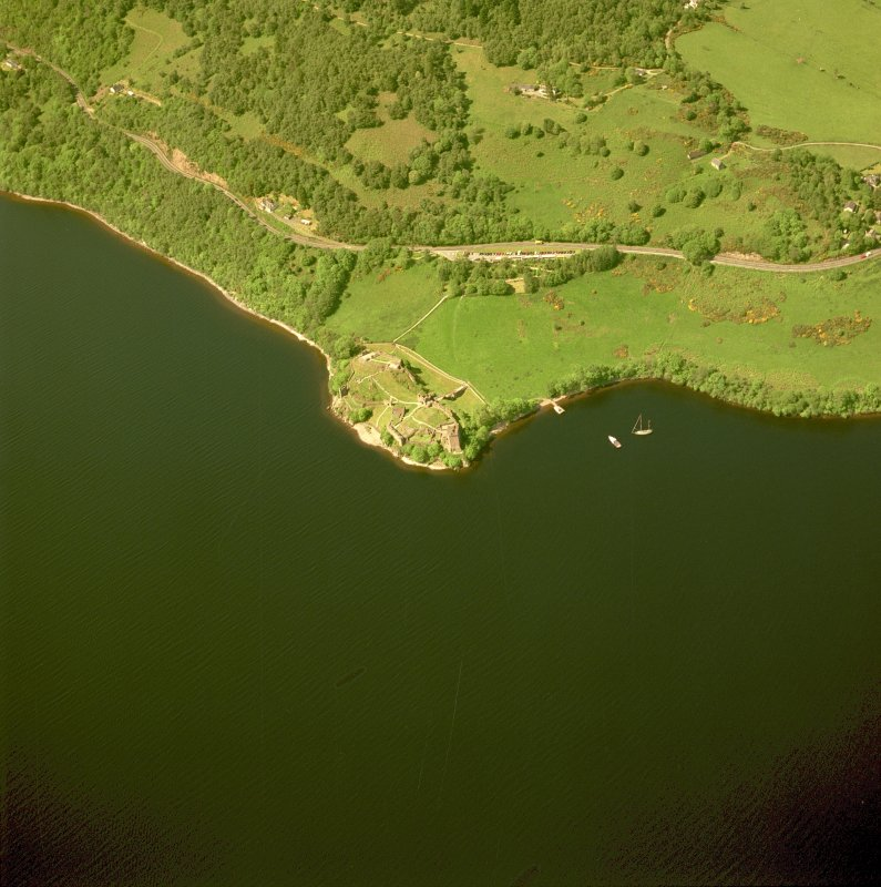 Urquhart Castle, oblique aerial view, taken from the NE. Digital image of C 46922 CN