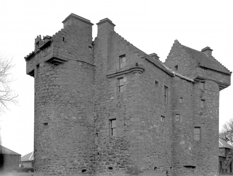 Dundee, Claypotts Road, Claypotts Castle. General view from South-East. Digital image of AN 762