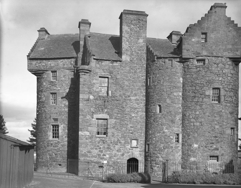 Dundee, Claypotts Road, Claypotts Castle. General view from West. Digital image of AN 757