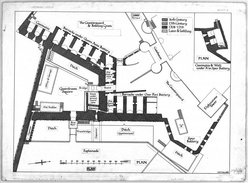 Photographic copy of plan of outer defences showing building phases, Stirling Castle.