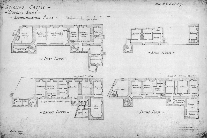 Ground, first, second and attic floor plans. Insc: 'Stirling Castle - Douglas Block - Accomodation plan', Lieut Col R.E.  C.R.E. Highland Area' Dated: '10/11/33', 'Amended I.M.M. 1937'