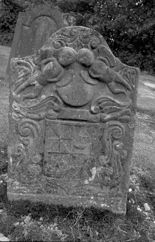 Detail of gravestone for William Mchutchon with two flying Resurrection angels and four shields Digital image of B 4085/18.