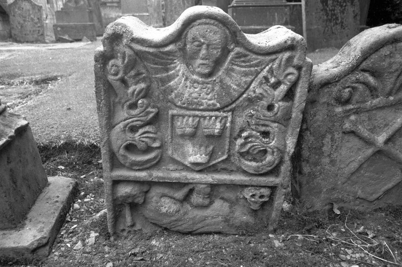 Detail of gravestone for John Grant 1738 with death emblems Digital image of B/4085/19