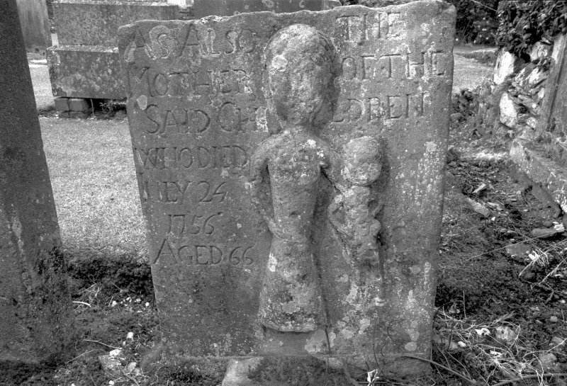 Detail of square gravestone for Grant children 1756 showing mother and child Digital image of B 4085/20