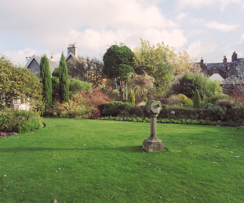 View of garden showing sundial on lawn Digital image of E 31012 CN
