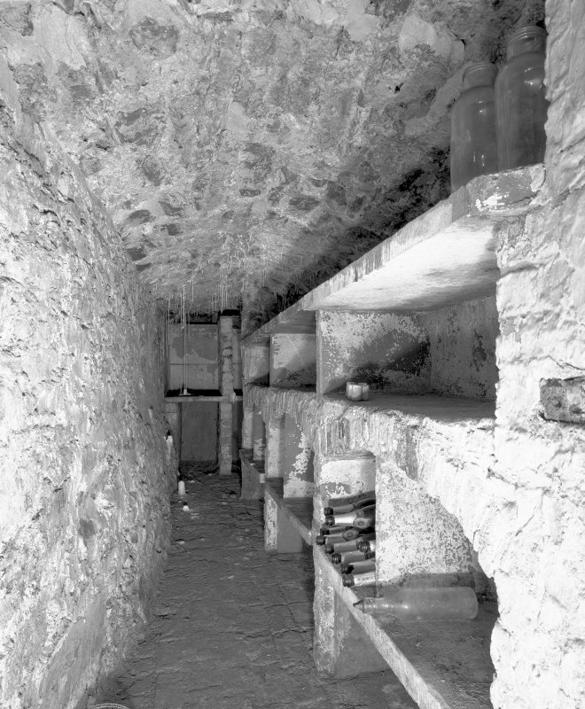 Interior, view of lower ground floor vaulted wine cellar under entrance court Digital image of E 30953.