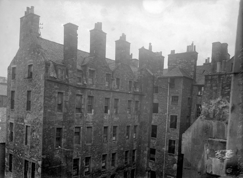 General view of rear elevations of houses demolished for extensions to the City Chambers