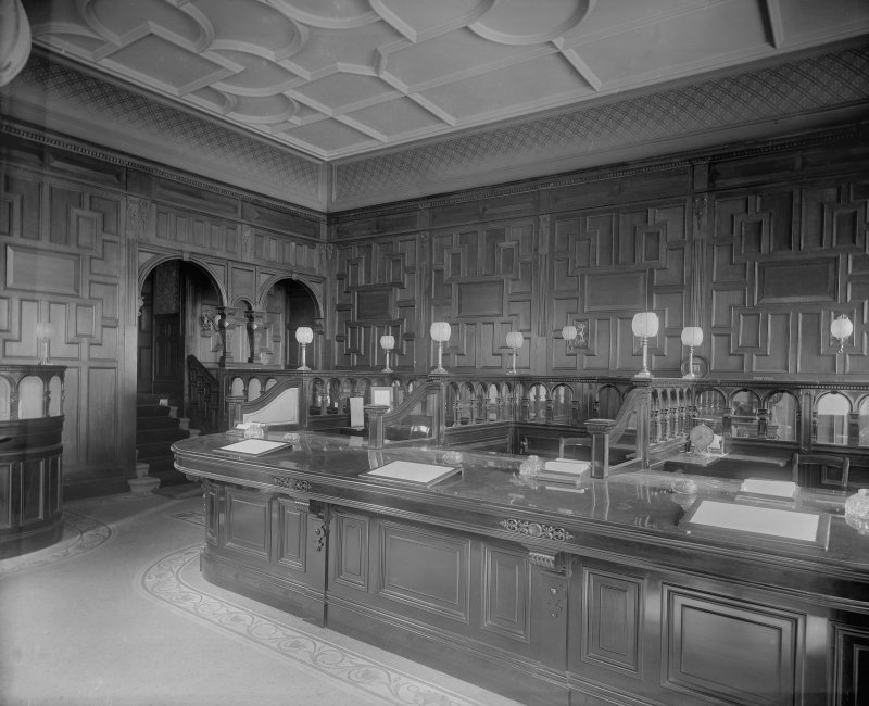 Interior-general view of telling hall of National Bank of Scotland