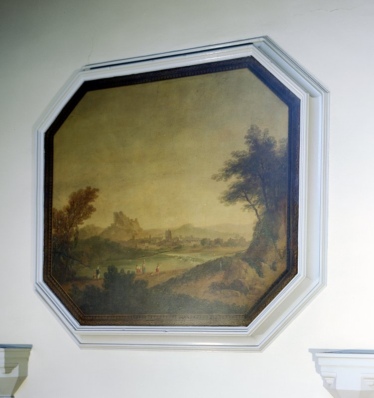 View of landscape with distant view of town, wallpainting on plaster.  Removed from original Milton House drawing room.  Now on main stair hall.