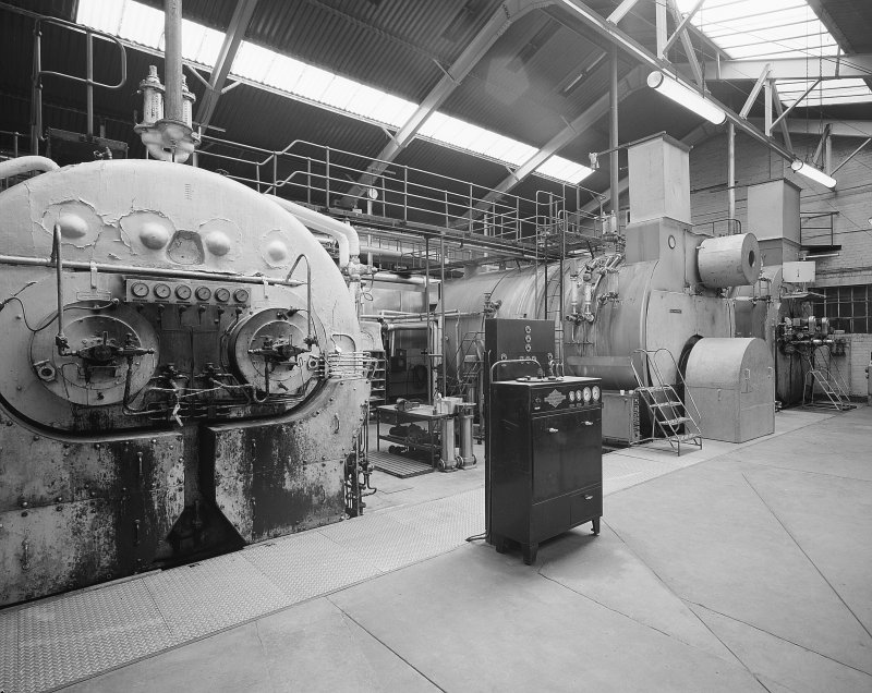 Interior-general view from North West of boilers in Boiler House of Holyrood Brewery, Edinburgh.
