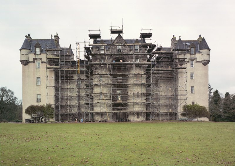 Fyvie Castle. General view of South elevation during restoration. Digital image of B 10669 CN.