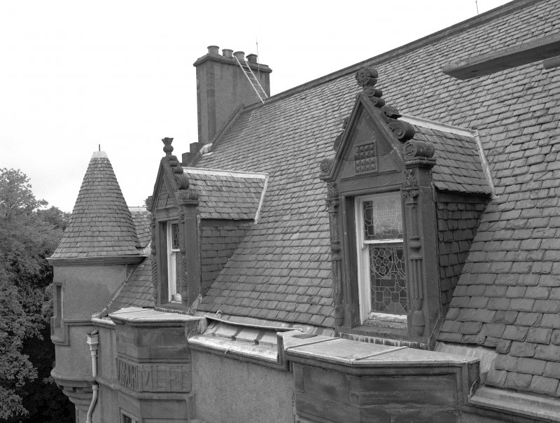 Fyvie Castle. View of dormer windows on North West wing. Digital image of A 10777