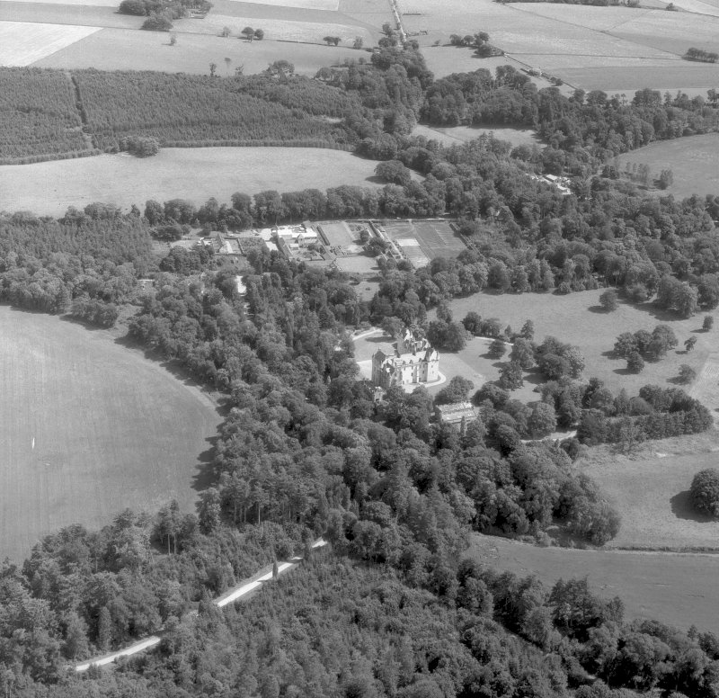 Fyvie Castle. Oblique aerial view from North West. Digital image of C 51854.