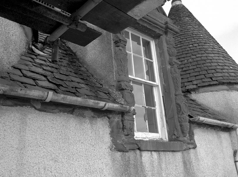 Fyvie Castle. Detail of Preston Tower dormer window during restoration. Digital image of B 10750.