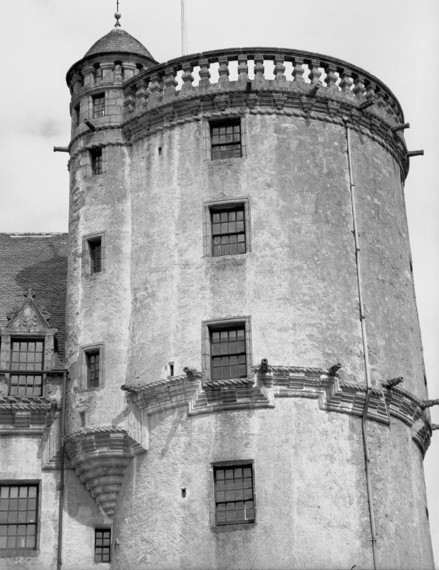Castle Fraser. View of top of SE tower from S. Digital image of AB 1331.