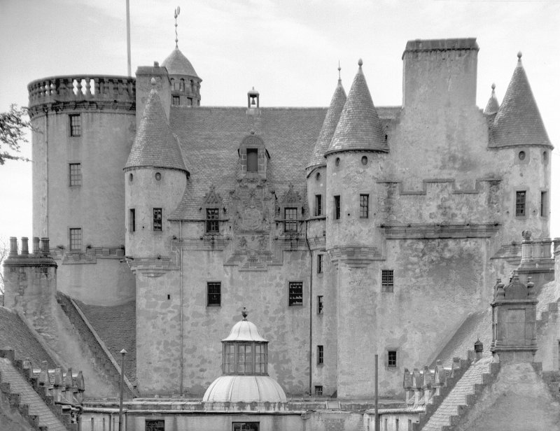 Castle Fraser. View of upper part of main block from N. Digital image of AB 1328.