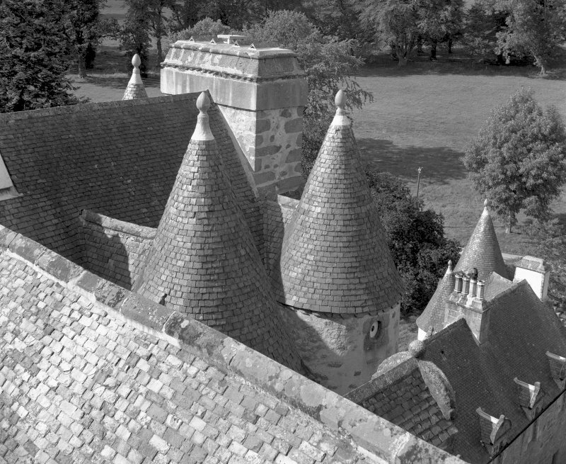 View of turrets from SE tower. Digital image of AB 619.