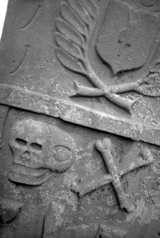 Detail of tombstone dedicated to John Millar, d. 1737. Digital image of A 7421