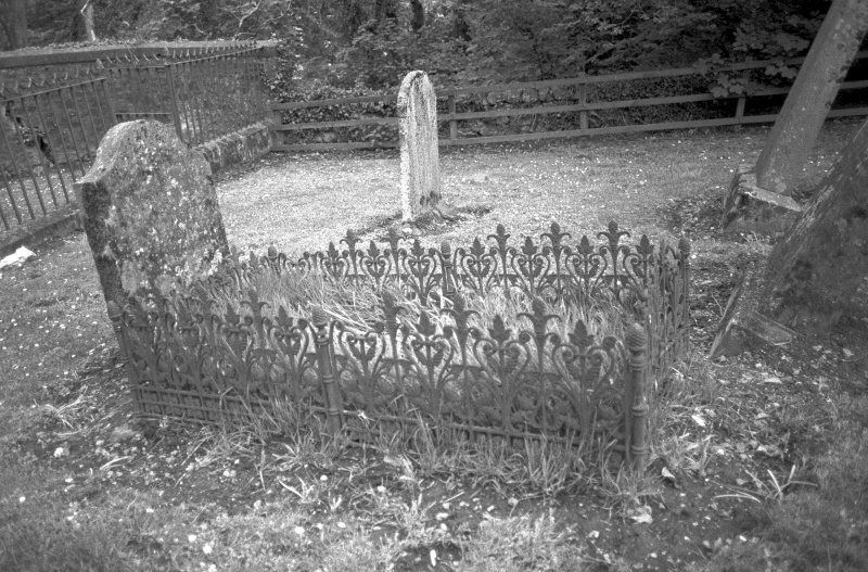 Kilspindie Churchyard. Detail of grave rails from 19th century. Digital image of A 7420
