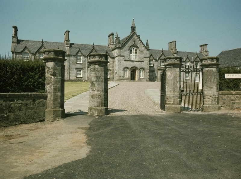 View from SE showing front through gates.