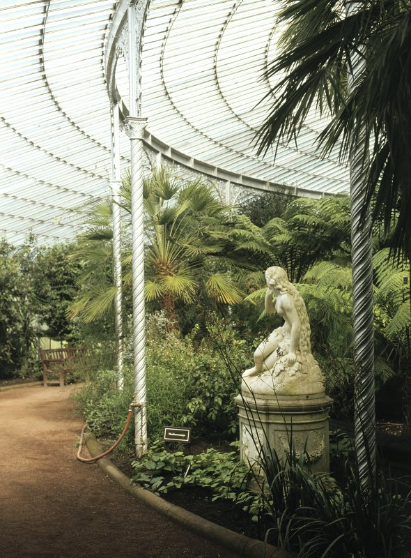 Interior View showing statue and vegetation.