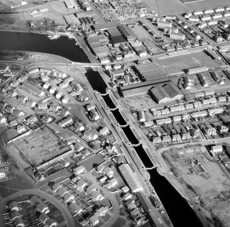 Aerial view of Muirtown Locks, locks and swing bridge Digital image of A 36836