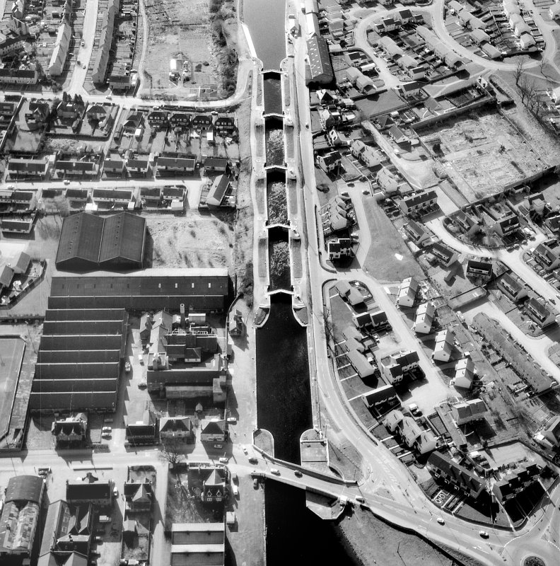 Aerial view of Muirtown Locks, locks and swing bridge Digital image of A 36834