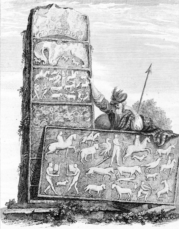 Engraving of the 'Shandwick Stone' Pictish cross slab.  Titled: 'Monument at Sandwick, Rosshire'.