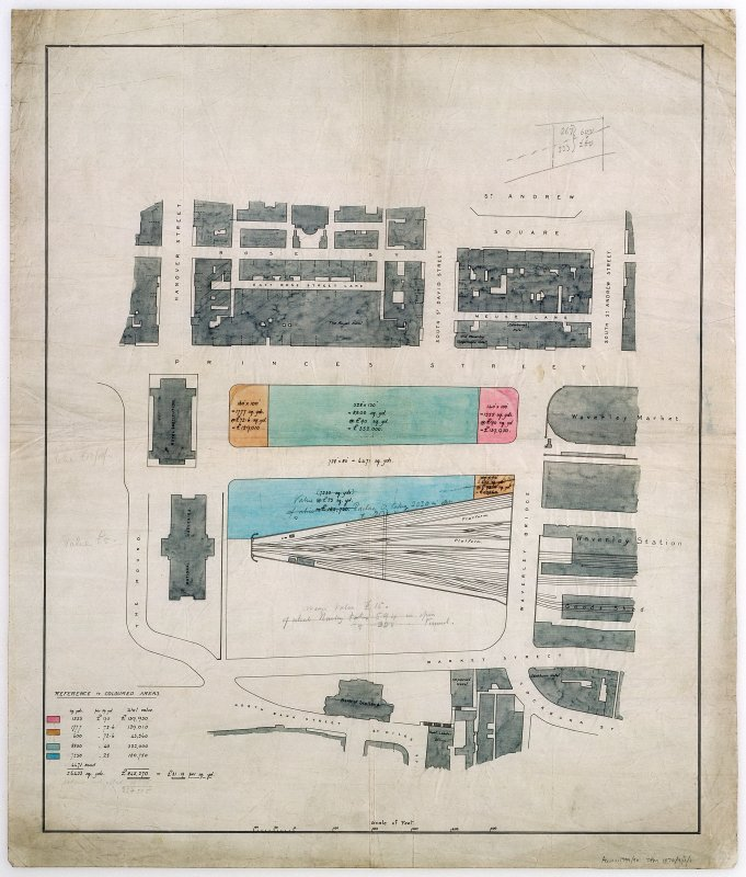 Feu plan showing ground occupied by the Sir Walter Scott Monument. Scanned image of E 37932 CN.