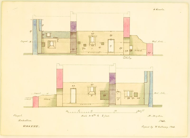 Sections, showing the division of chapel into two stories when it was used as a cottage, with dimensions added, Eynhallow Monastery. Copied by W Galloway, 1868, after H Dryden, 1866.