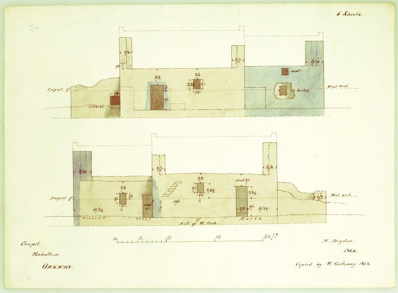 North and south elevations of Eynhallow Monastery with reconstruction of the roof indicated. Copied by W Galloway, 1868, after H Dryden, 1866.