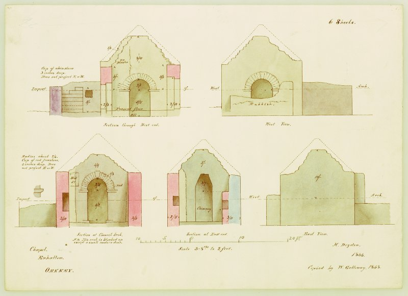 East and west elevations, and three sections through chancel arch, and the east and west ends, Eynhallow Monastery.  Copied by W Galloway, 1868, after H Dryden, 1866.