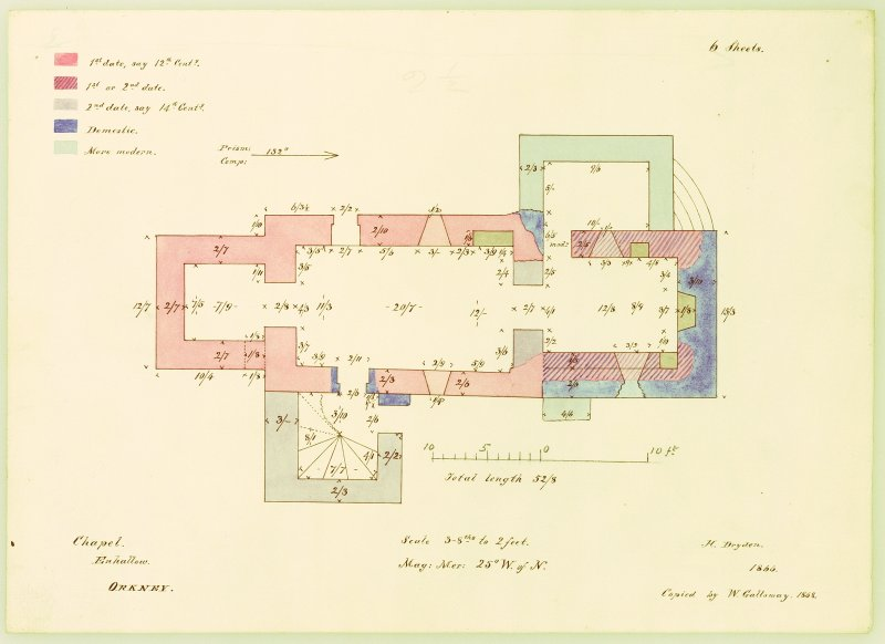 Plan of Eynhallow Monastery with building sequence. Inscribed with dimensions. Copied W Galloway 1868, after H Dryden, 1866.