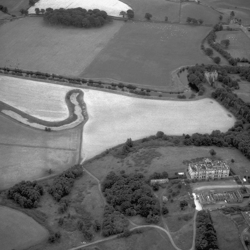 Digital image of an oblique aerial view of Dalquharran Castle.
