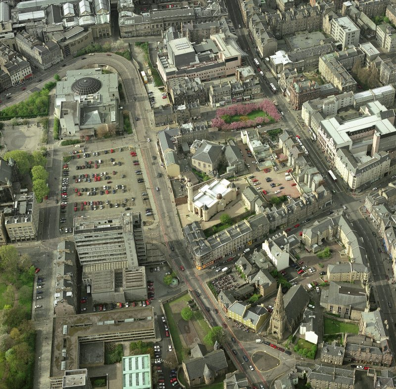 Oblique aerial view of Edinburgh centred on the Central Mosque, taken from the S.  An enlargement of the original photograph.