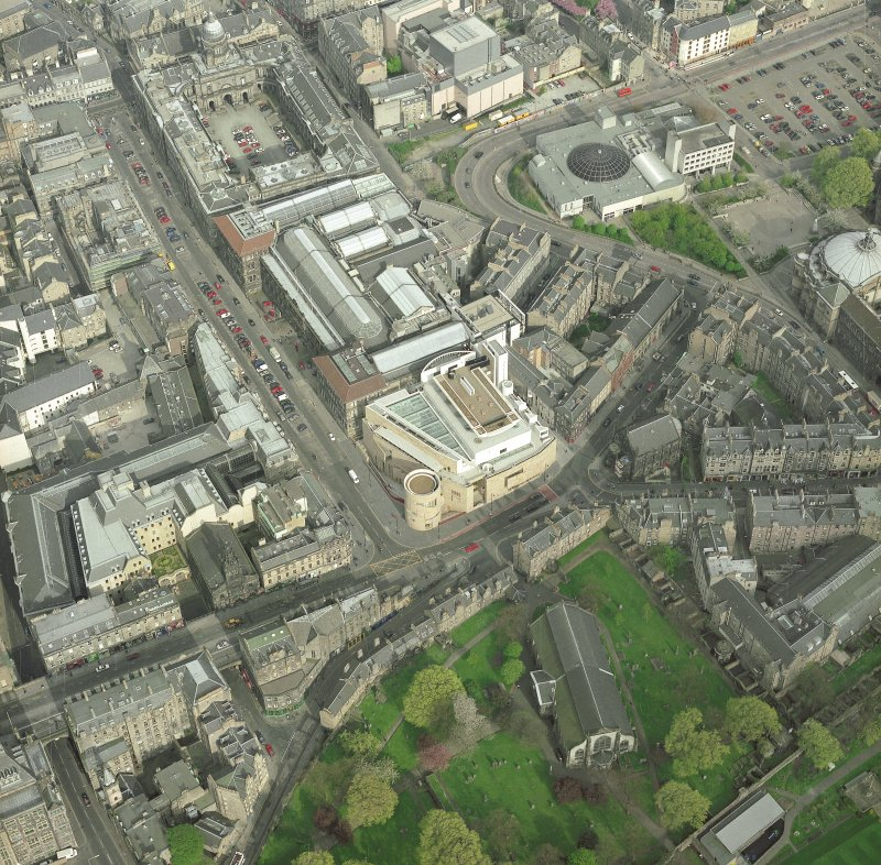Oblique aerial view of Edinburgh centred on the Museum of Scotland, taken from the W.  An enlargement of the original photograph.