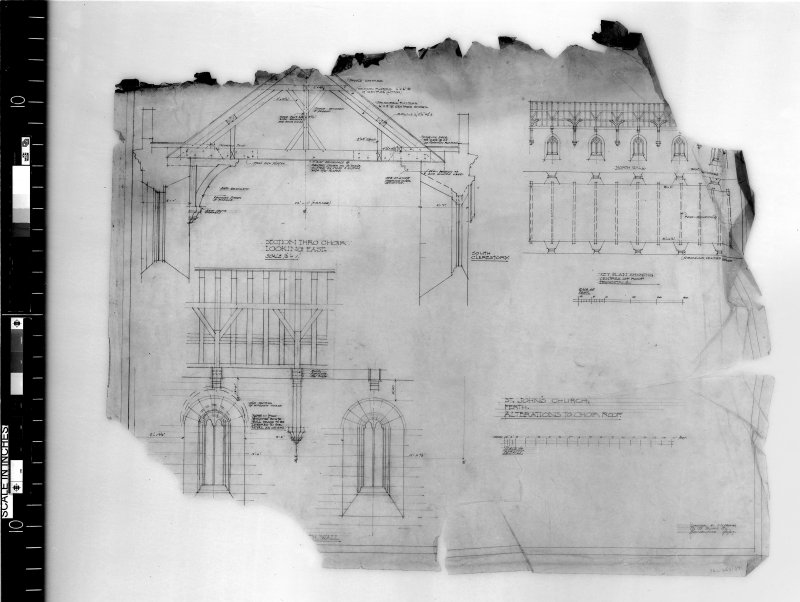 Details of alterations to the choir roof. Scanned image of D 4971.