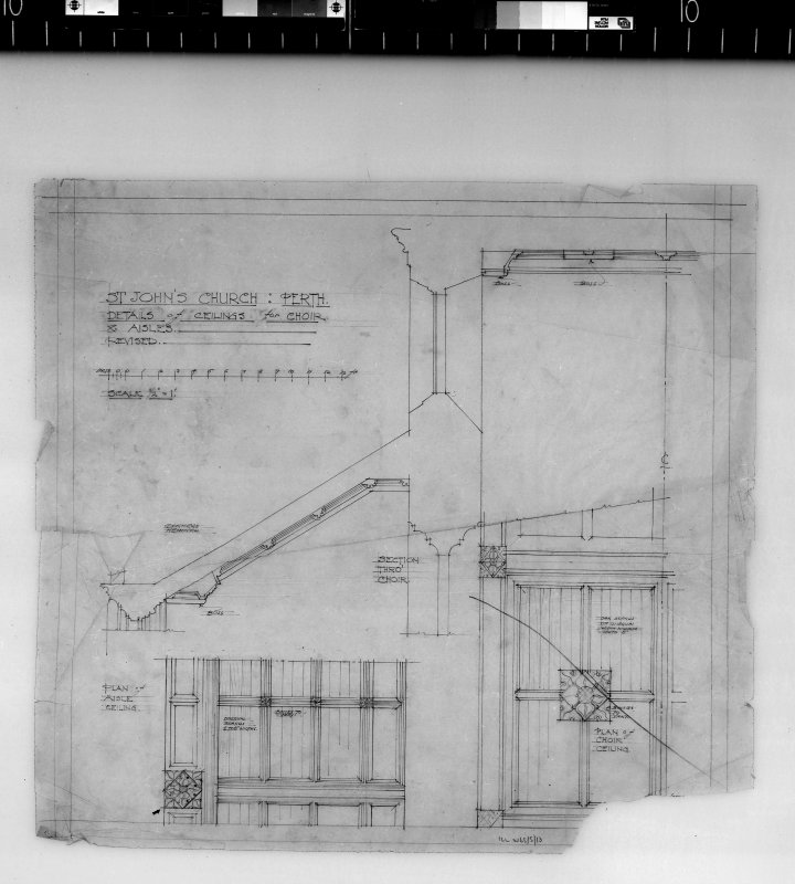 Details of ceilings for choir and aisles. Scanned image of D 4985.